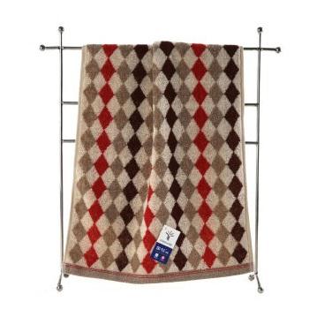 金号 G1745   菱形块 纯棉毛巾 棕色 70cm×33cm