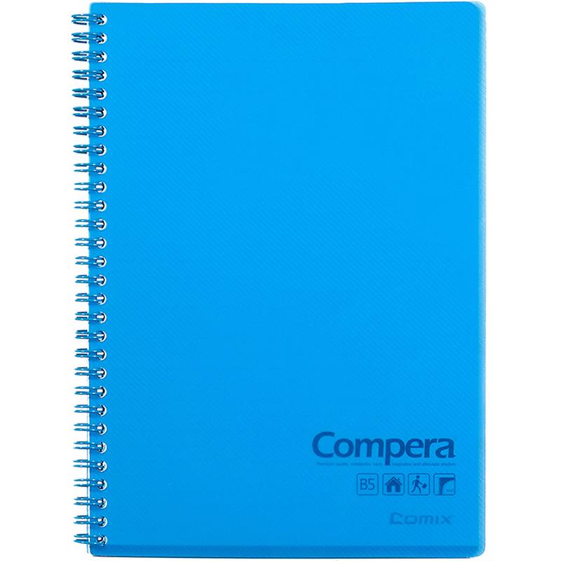 齐心CPB5801 PP面线圈本B5 80页 透蓝 179mm×252mm