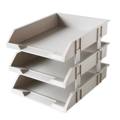 得力9206三层超厚文件盘 灰色