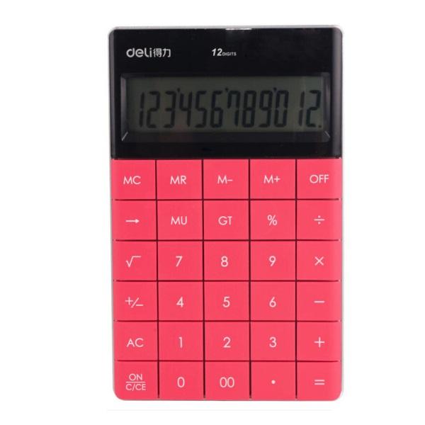 得力 1589  平板按键计算器 12位 红色  一体化设计  操作舒适