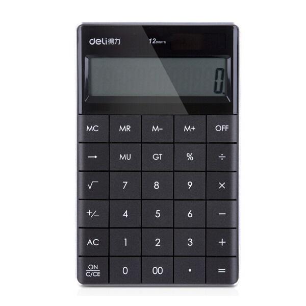 得力 1589P 平板按键计算器 12位 黑色 一体化设计  操作舒适