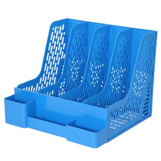 齐心 B2034 多功能 四格资料架 蓝色 100% 新料 无毒 无异味