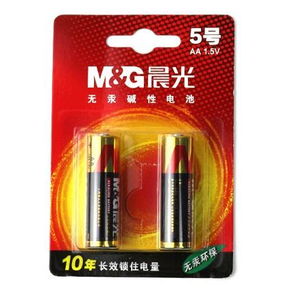 晨光5号碱性电池 2只装 ARC92554 无汞环保 无需特定回收!