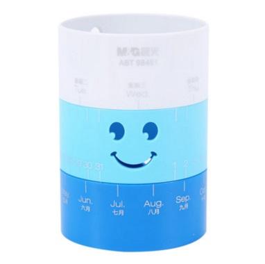 晨光 ABT98451 圆形旋转 创意笔筒  蓝色 可设置日期、星期和表情