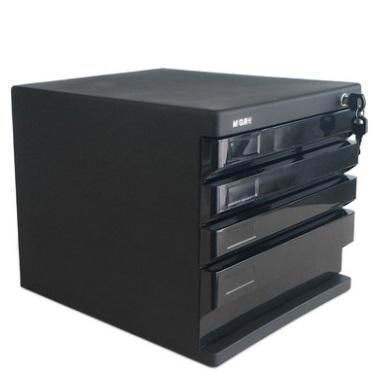 晨光ADM95297四层 硬塑文件柜 黑色 带锁