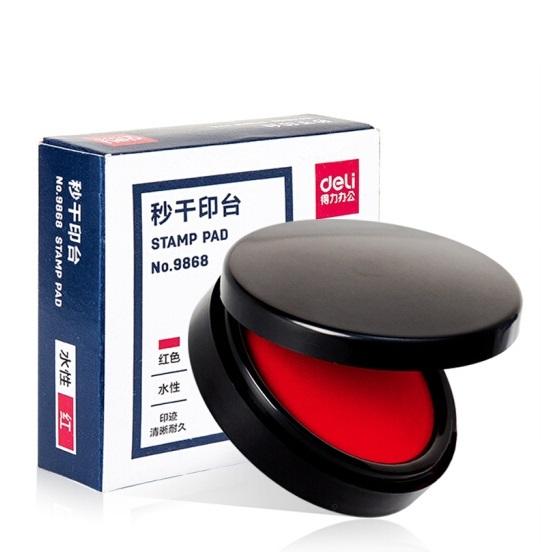 得力 9868 秒干 圆形印台 红色 φ55mm 小号