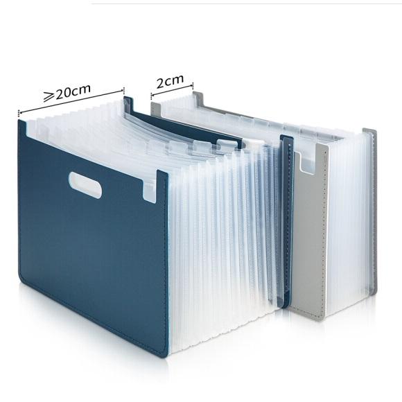 得力 63951 立式大容量 伸缩风琴包 A4 13格 深蓝色