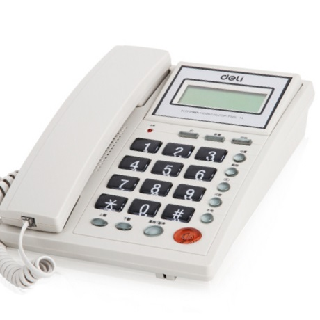 得力 786 翻转屏幕 来电显示电话机  白色