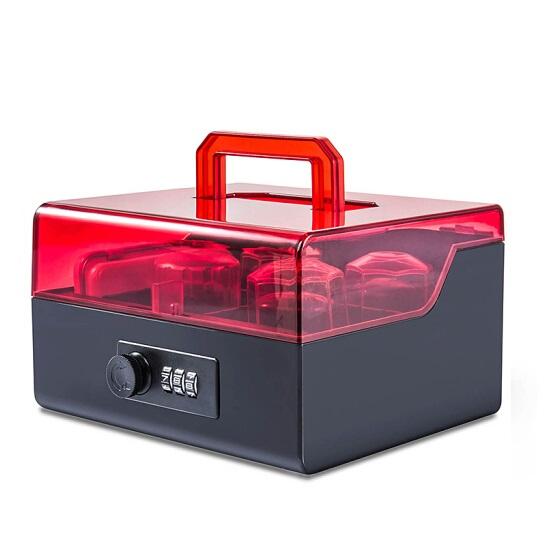 金隆兴 B8056 黑红 密码锁 小号 印章箱 4格 长168mm×宽178mm×高102mm