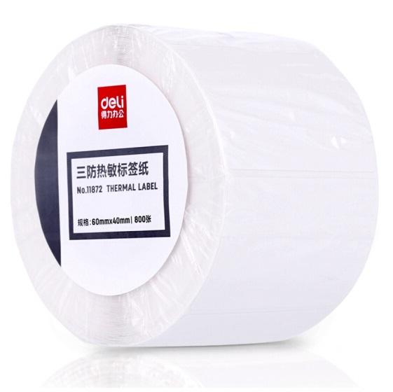 得力 11872 热敏 不干胶 标签打印纸 60mm×40mm 800张