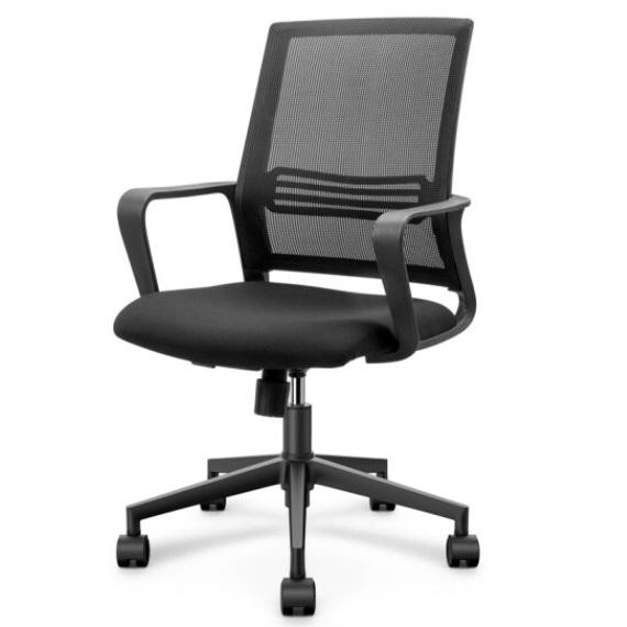得力 4901S 人体工学 黑色网布 可升降 滑轮 靠背办公椅