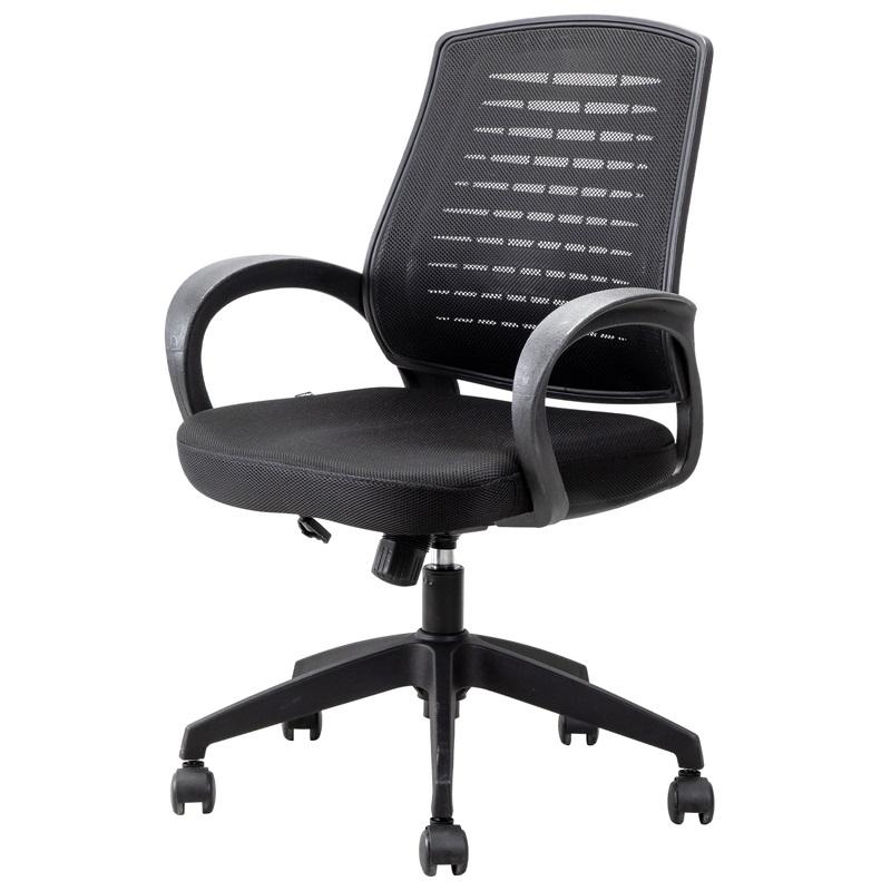 得力4901人体工学 黑色网布 可升降 滑轮 靠背办公椅