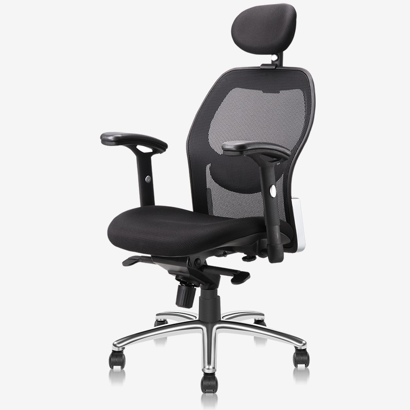 得力4903人体工学 黑色网布 可升降 滑轮 高靠办公椅