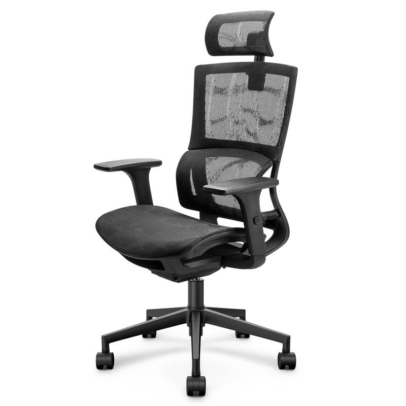 得力87050人体工学 黑色网布 可升降 滑轮 分段式靠背 办公椅