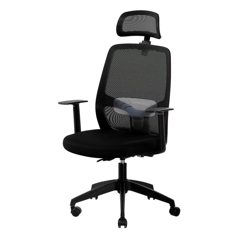 得力 33564 人体工学 黑色网布 可升降 滑轮 腰托可调办公椅
