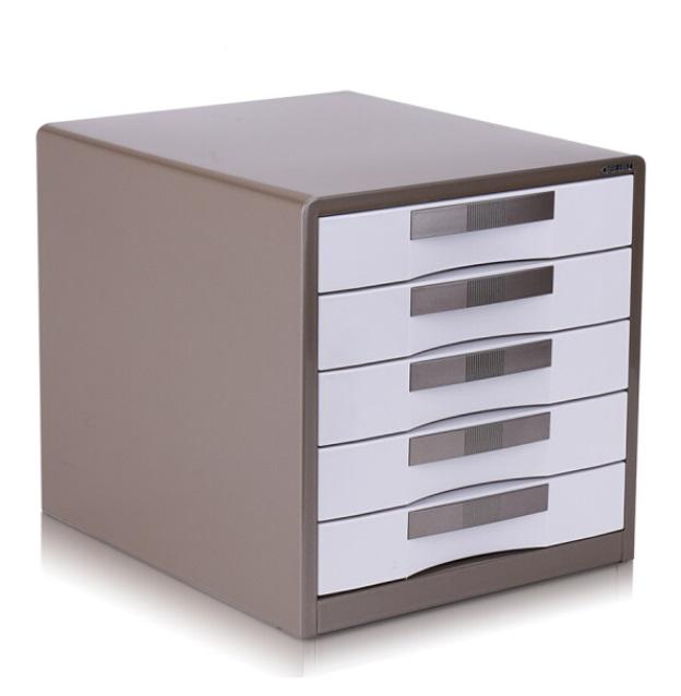 得力 9702 金属外壳 五层 文件柜 棕色 带锁