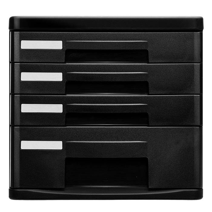 得力 9772 四层 硬塑文件柜 黑色 无锁