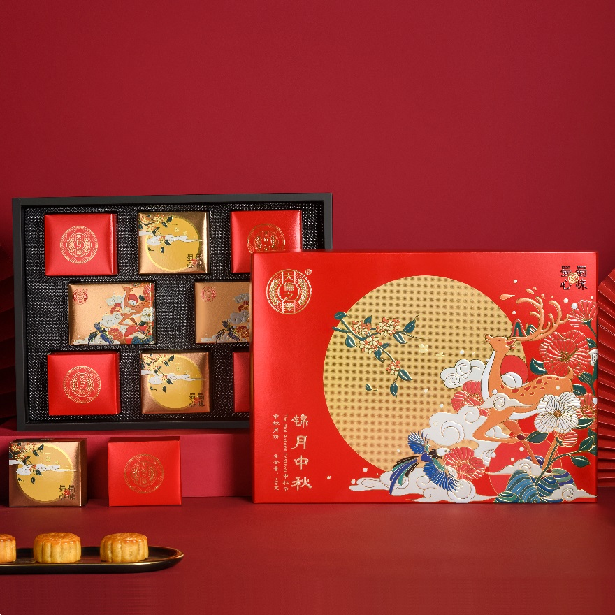 天伦之乐 中秋月饼礼盒 8枚装 净含量 600g 锦月中秋